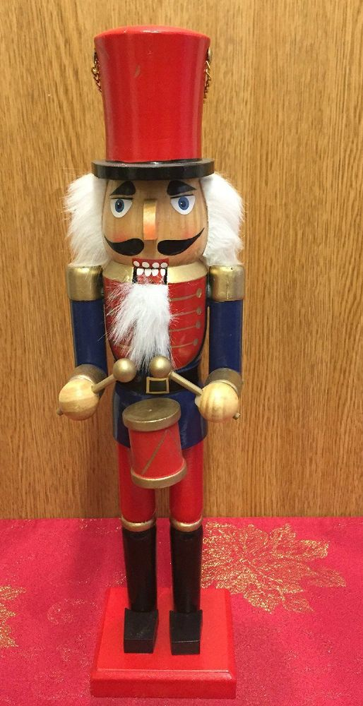 Hand Painted Wooden Nutcracker with Drums 38 cm Traditional Christmas Ornament ~ Red & Blue